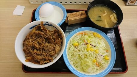 beef bowl and salad and miso soup