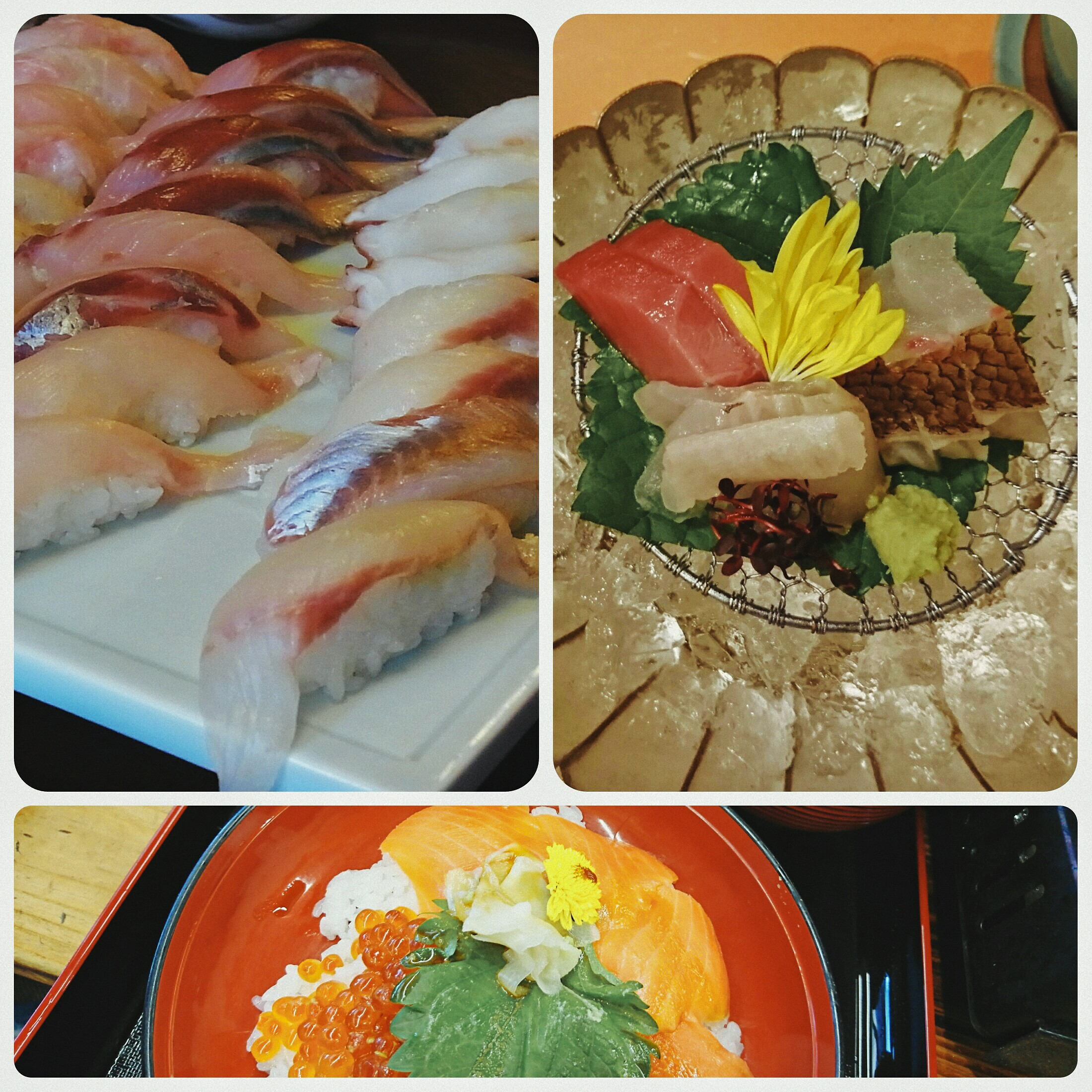 sushi and sashimi and seafood rice bowl